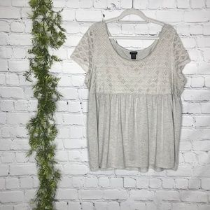 Torrid Size 3 Heather Gray Babydoll Lace T-Shirt